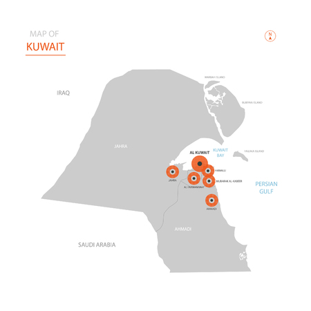 Stylized vector Kuwait map showing big cities, capital Kuwait City, administrative divisions.