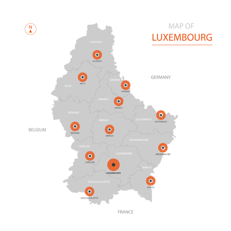 Stylized vector Luxembourg map showing big cities, capital Luxembourg, administrative divisions. Illustration