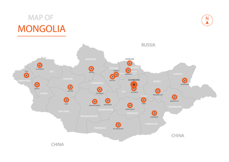 Stylized vector Mongolia map showing big cities, capital Ulaanbaatar, administrative divisions.