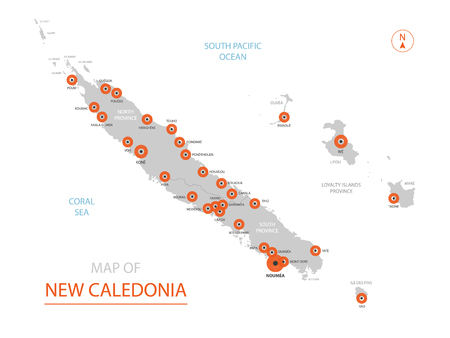 Stylized vector New Caledonia map showing big cities, capital Nouméa, administrative divisions.