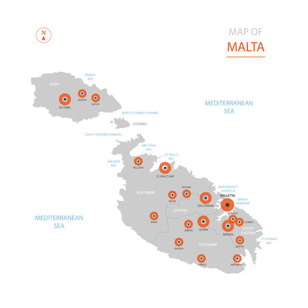 Stylized vector Malta map showing big cities, capital Valletta, administrative divisions. Illustration