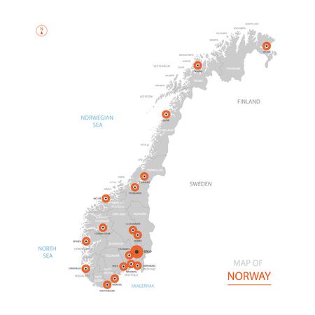 Stilisierte Vektor-Norwegen-Karte, die große Städte, Hauptstadt Oslo, administrative Abteilungen zeigt.