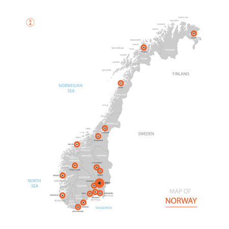 Stylized vector Norway map showing big cities, capital Oslo, administrative divisions. Ilustrace