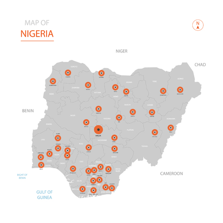 Stylized vector Nigeria map showing big cities, capital Abuja, administrative divisions.