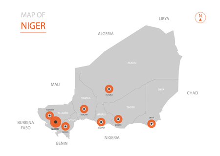 Stylized vector Niger map showing big cities, capital Niamey, administrative divisions. Vector Illustration