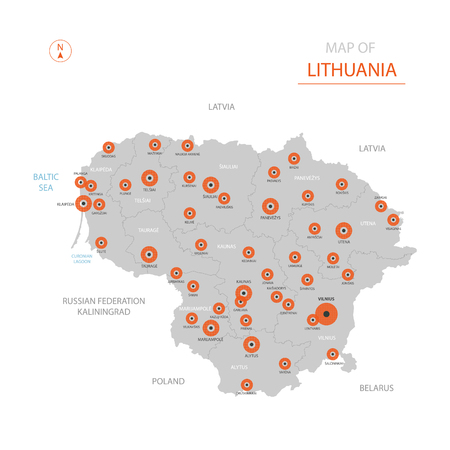 Stylized vector Lithuania map showing big cities, capital Vilnius, administrative divisions.