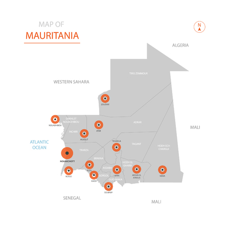 Stylized vector Mauritania map showing big cities, capital Nouakchott, administrative divisions.