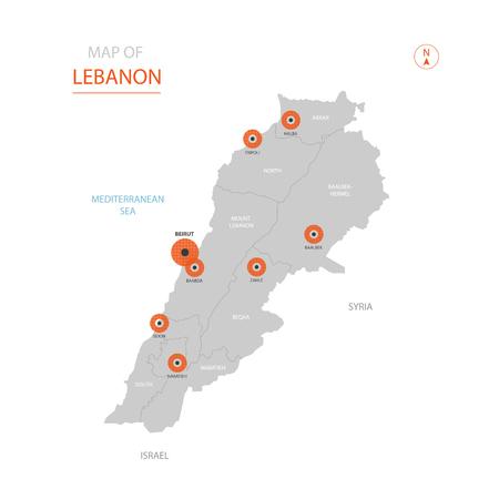 Carte vectorielle stylisée du Liban montrant les grandes villes, la capitale Beyrouth, les divisions administratives.
