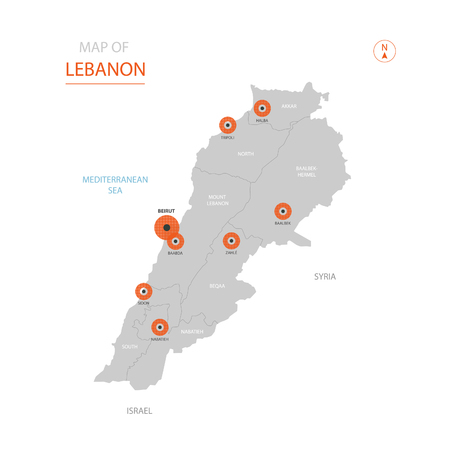 Stylized vector Lebanon map showing big cities, capital Beirut, administrative divisions. Illustration