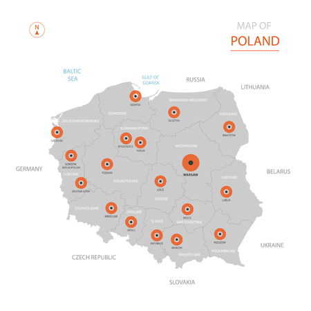 Stylized vector Poland map showing big cities, capital Warsaw, administrative divisions and country borders