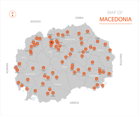 Stylized vector Macedonia map showing big cities, capital Skopje, administrative divisions. Illustration