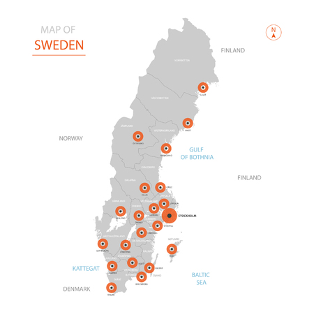 Stylized vector Sweden map showing big cities, capital Stockholm, administrative divisions and country borders