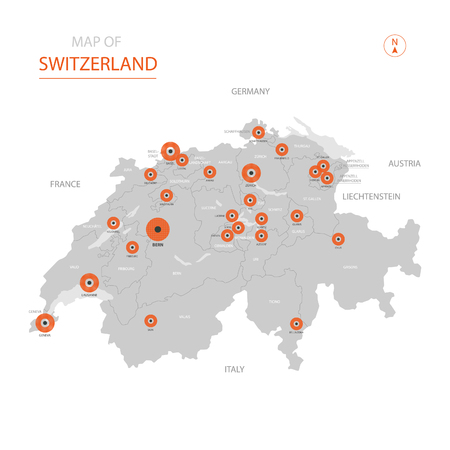 Stylized vector Switzerland map showing big cities, capital Bern, administrative divisions and country borders