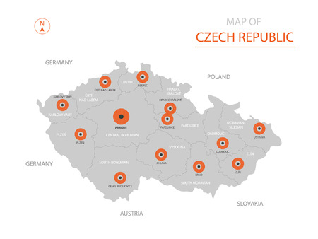 Stylized vector Czech Republic map showing big cities, capital Prague, administrative divisions.