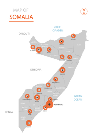 Stylized vector Somalia map showing big cities, capital Mogadishu, administrative divisions