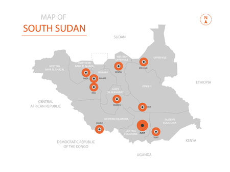 Stylized vector South Sudan map showing big cities, capital Juba, administrative divisions.