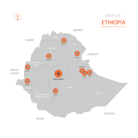 Stylized vector Ethiopia map showing big cities, capital Addis Ababa, administrative divisions.
