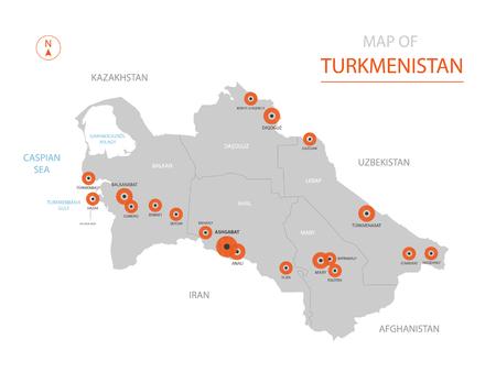 Carte vectorielle stylisée du Turkménistan montrant les grandes villes, capitale Achgabat, divisions administratives.