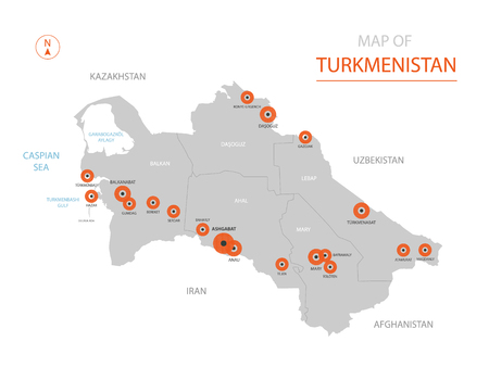 Stylized vector Turkmenistan map showing big cities, capital Ashgabat, administrative divisions.