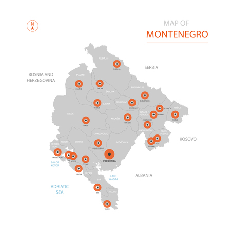 Stylized vector Montenegro map showing big cities, capital Podgorica, administrative divisions. Illustration
