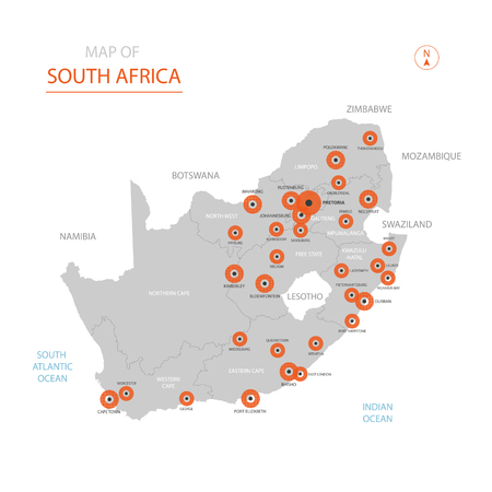 Stylized vector Republic of South Africa (RSA) map showing big cities, capital Pretoria, administrative divisions. Illustration