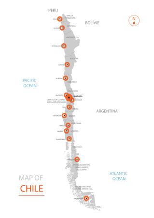 Mappa stilizzata del Cile di vettore che mostra grandi città, capitale Santiago, divisioni amministrative e confini