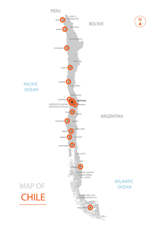 Stylized vector Chile map showing big cities, capital Santiago, administrative divisions and country borders
