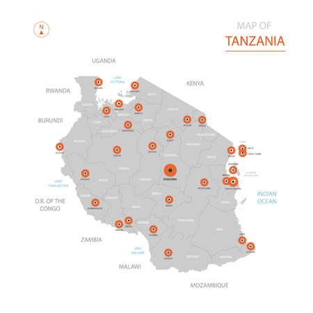 Stylized vector Tanzania map showing big cities, capital Dodoma, administrative divisions.
