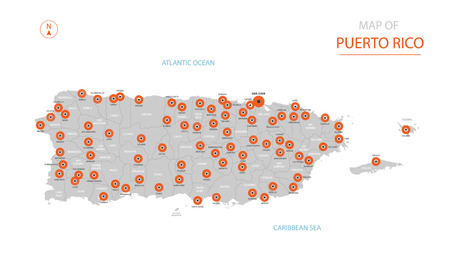 Stylized vector Puerto Rico map showing big cities, capital San Juan, administrative divisions.