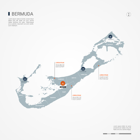 Bermuda map with borders, cities, capital and administrative divisions. Infographic vector map. Editable layers clearly labeled. Stock Illustratie