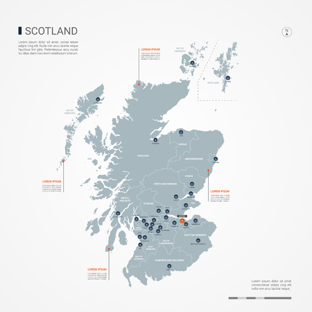 Scotland map with borders, cities, capital and administrative divisions. Infographic vector map. Editable layers clearly labeled.