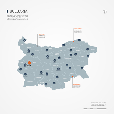 Bulgaria map with borders, cities, capital and administrative divisions. Infographic vector map. Editable layers clearly labeled.