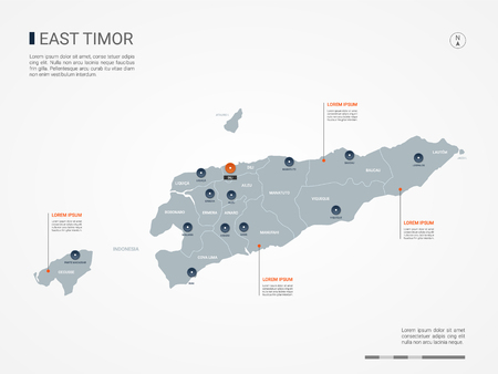 East Timor map with borders, cities, capital and administrative divisions. Infographic vector map. Editable layers clearly labeled.