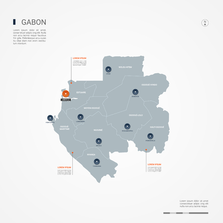 Gabon map with borders, cities, capital and administrative divisions. Infographic vector map. Editable layers clearly labeled. Ilustrace