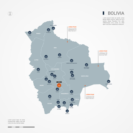 Bolivia map with borders, cities, capital and administrative divisions. Infographic vector map. Editable layers clearly labeled.