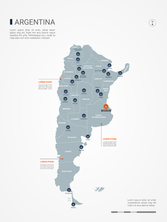 Mapa Argentyny z granicami, miastami, stolicami i podziałami administracyjnymi. Mapa wektor plansza. Edytowalne warstwy wyraźnie oznaczone.