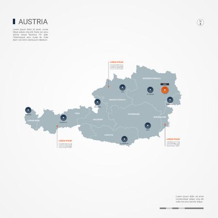 Austria map with borders, cities, capital Vienna and administrative divisions. Infographic vector map. Editable layers clearly labeled. Vetores