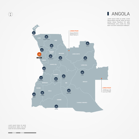 Angola with borders, cities, capital Luanda and administrative divisions. Infographic vector map. Editable layers clearly labeled.