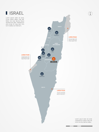 Israel map with borders, cities, capital and administrative divisions. Infographic vector map. Editable layers clearly labeled.