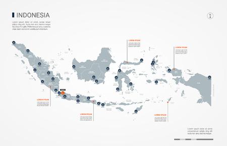 Carte de l'Indonésie avec des frontières, des villes, des capitaux et des divisions administratives. Carte vectorielle infographique. Calques modifiables clairement étiquetés.