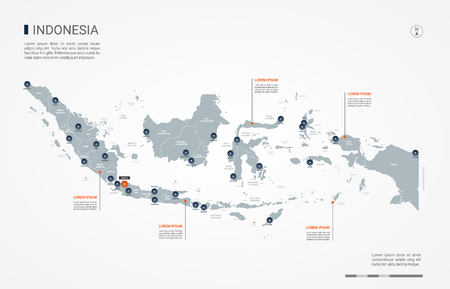 Indonesia map with borders, cities, capital and administrative divisions. Infographic vector map. Editable layers clearly labeled. Çizim