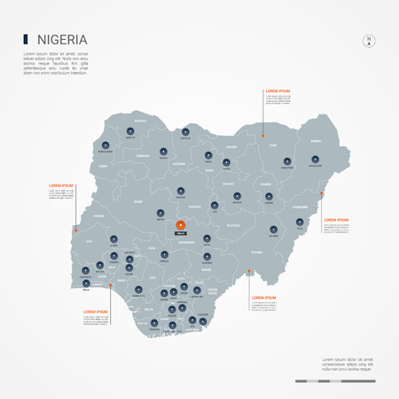 Nigeria map with borders, cities, capital and administrative divisions. Infographic vector map. Editable layers clearly labeled. Illustration