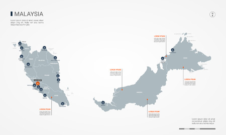 Malaysia map with borders, cities, capital and administrative divisions. Infographic vector map. Editable layers clearly labeled.