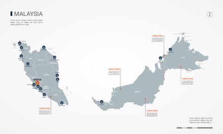 Carte de la Malaisie avec des frontières, des villes, des capitaux et des divisions administratives. Carte vectorielle infographique. Calques modifiables clairement étiquetés.