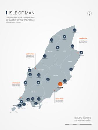 Carte de l'île de Man avec frontières, villes, capital et divisions administratives. Carte vectorielle infographique. Calques modifiables clairement étiquetés. Vecteurs