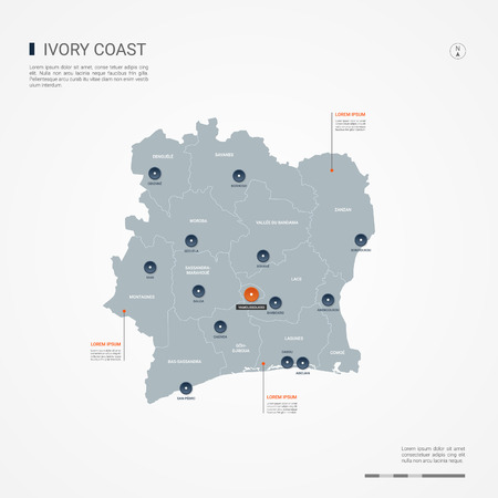 Ivory Coast map with borders, cities, capital and administrative divisions. Infographic vector map. Editable layers clearly labeled. Vectores