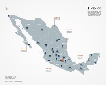 Mapa de México con fronteras, ciudades, capital y división administrativa. Mapa del vector de infografía. Capas editables claramente etiquetadas.