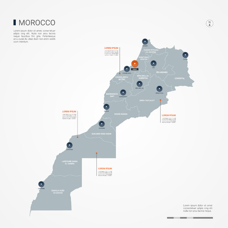 Morocco map with borders, cities, capital and administrative divisions. Infographic vector map. Editable layers clearly labeled.