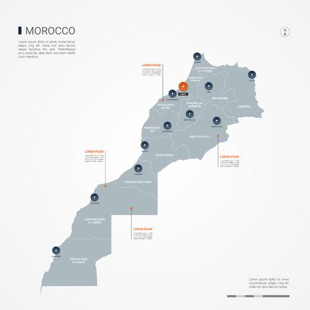 Mapa de Marruecos con fronteras, ciudades, capital y división administrativa. Mapa del vector de infografía. Capas editables claramente etiquetadas.