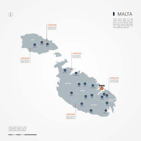 Carte de Malte avec des frontières, des villes, des capitaux et des divisions administratives. Carte vectorielle infographique. Calques modifiables clairement étiquetés.